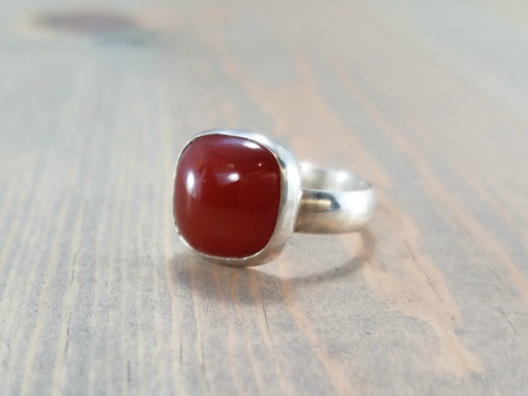 Red chunky square statement ring