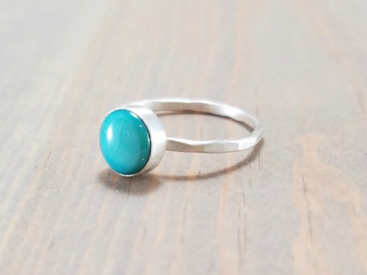Turquoise And Silver Stackable Ring Bloomingoak Design