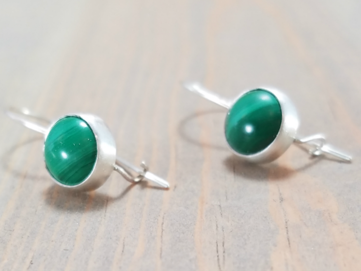 Natural Green Malachite Earrings
