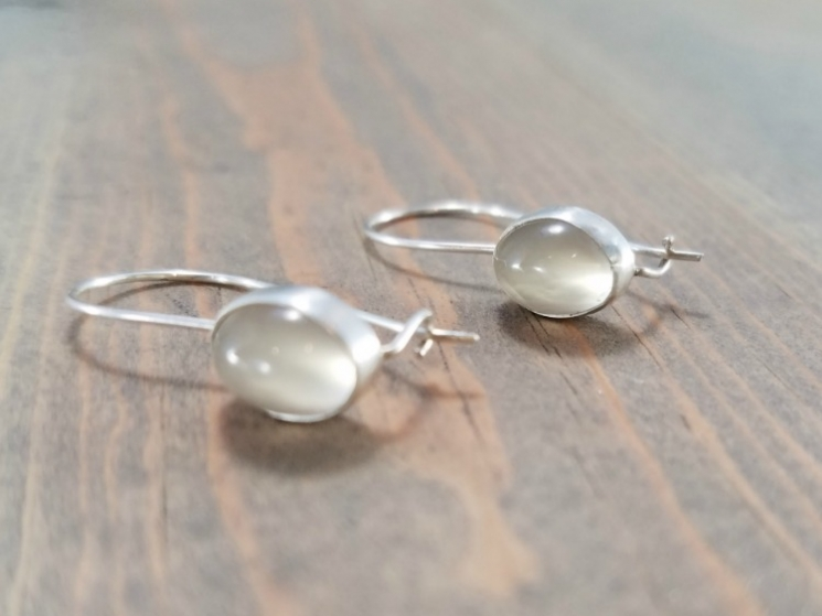 Moonstone Locking Wire Earrings