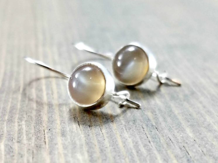 Moonstone and Silver Locking Wire Earrings