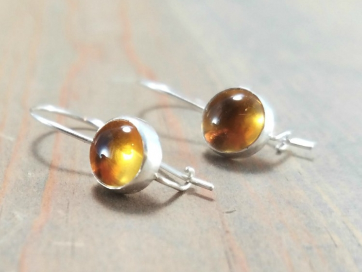 Yellow Gemstone Earrings Silver And Gem