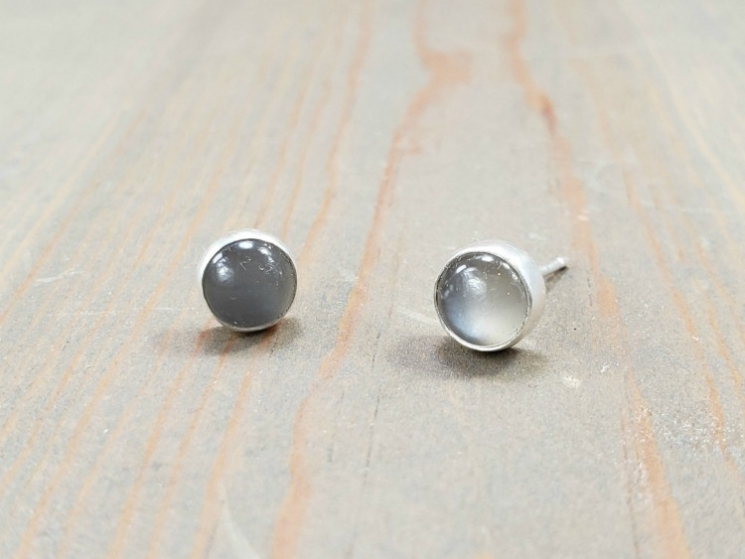 gray moonstone stud earrings