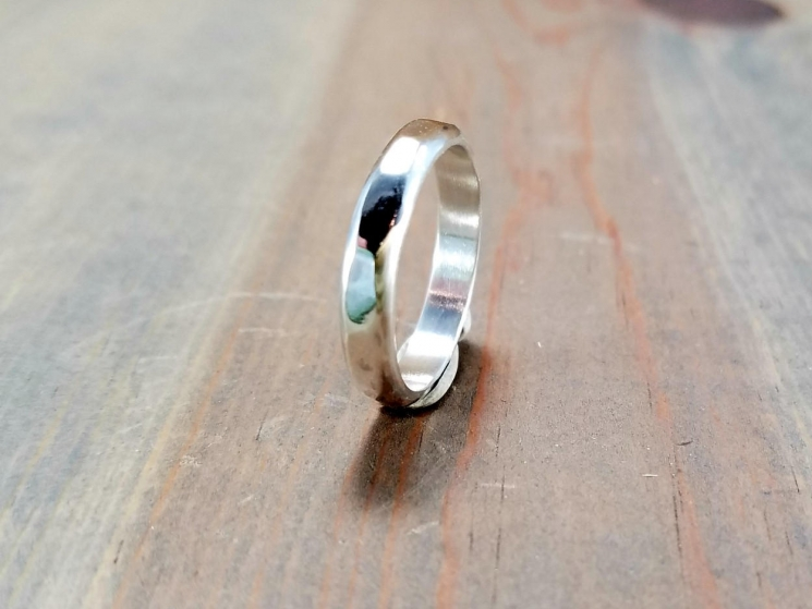 Mens Sterling Silver Hammered Band