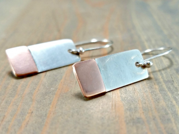 Small Copper Bar Earrings
