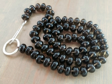 Hand Knotted Smoky Quartz Beaded Necklace