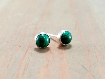 Green Malachite & Silver Post Earrings