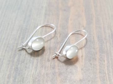 White gemstone earrings