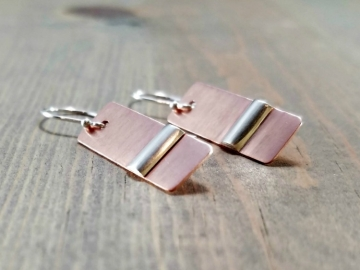 Silver on Copper DangleEarrings
