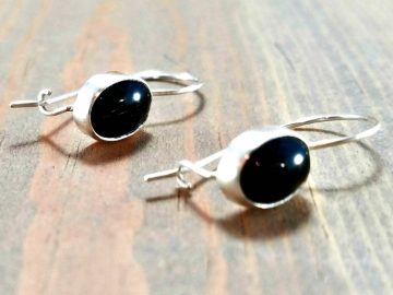 Oval Black Onyx Earrings