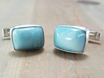Light Blue Amazonite Cufflinks