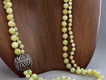 Yellow Jade Necklace Multi Strand Necklace