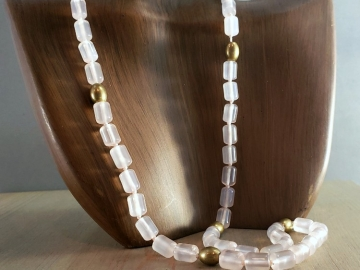 Pink Chalcedony Bead Necklace