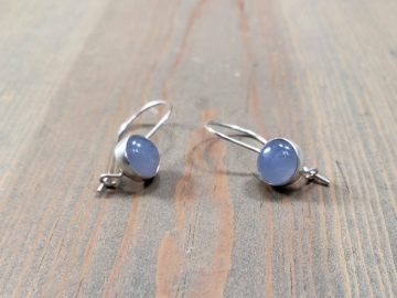 Blue Chalcedony Locking Earrings