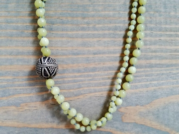 Multi Strand Yellow Jade Necklace