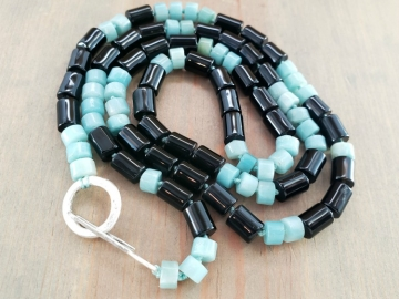 Black Onyx and Amazonite Necklace