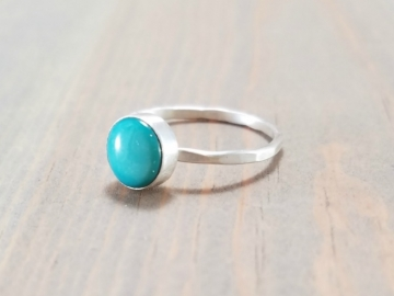 Turquoise and Silver Stackable Ring
