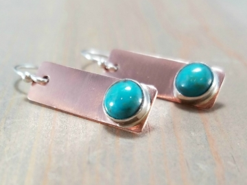 Turquoise Earrings in Copper