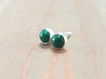 Green Malachite Silver Post Earrings