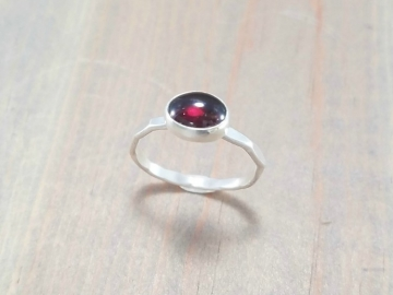 Small Garnet Stack Ring