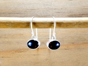 Oval Garnet Dangle Earrings