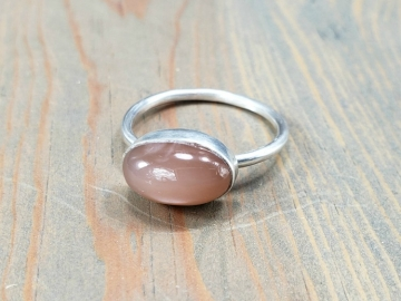 Peach Moonstone Silver Ring
