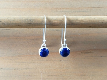 Tiny Silver Lapis Earrings