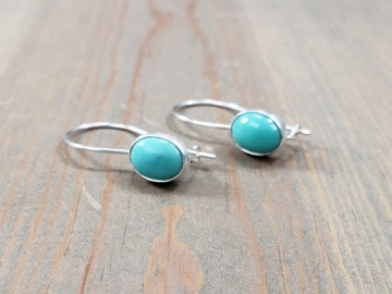 Oval Turquoise Drop Earrings