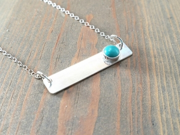 Horizontal Turquoise Bar Necklace