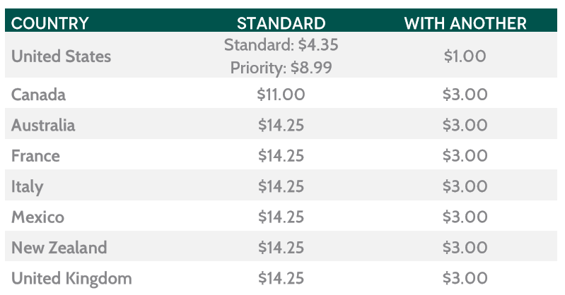 BloomingOak Jewelry Shipping Rate Table